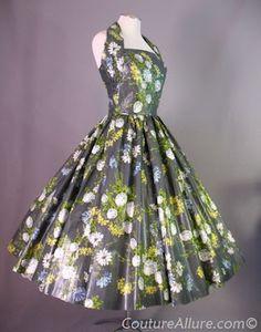 1950s Glazed Cotton Circle Dress with Halter
