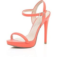 River Island Orange snake print barely there sandals