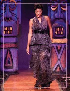 Model at ITSE 2015 Hawaiian Fashion show wearing Phalon Deshun Fashion
