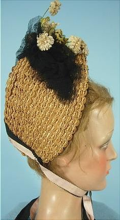 c. 1885 Honey Colored Straw Bonnet with Black Lace and Silk Flowers with Double Silk Ties