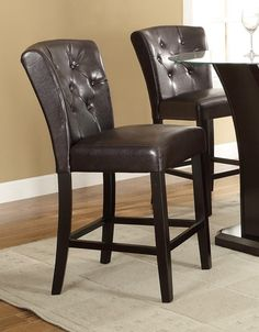 Set of 2 espresso finish wood and dark brown tufted back faux leather counter height bar chairs