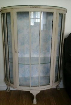 Shabby chic curved display cabinet. Annie Sloan original