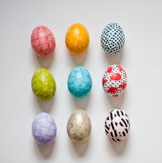 easter eggs with washi tape