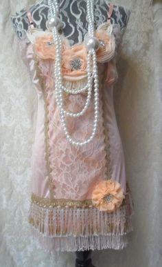 FLAPPER 1920s Gatsby Downton Abbey Fringe Vintage by pinkpurse