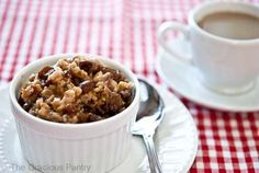 Clean Eating Slow Cooker Overnight Oatmeal. This one cooks all night while you sleep! Enjoy this and over 1000 clean eating recipes at TheGraciousPantry.com.