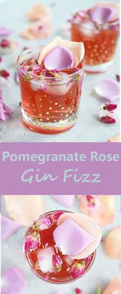 This Pomegranate Rose Gin Fizz is a gin-based cocktail with pomegranate juice, club soda and a splash of rosewater for a lovely pink, Persian-inspired drink. #cocktailrecipes