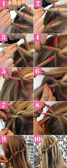 easy, step-by-step guide to creating waterfall braids for medium/long hair. This is a great hairstyle for weddings and prom.Our easy, step-by-step guide to creating waterfall braids for medium/long hair. This is a great hairstyle for weddings and prom. Braided Hairstyles Tutorials, Diy Hairstyles, Hairstyle Ideas, Braid Tutorials, Easy Hairstyle, Hair Ideas, Wedding Hairstyles, Medium Hairstyles, Makeup Tutorials