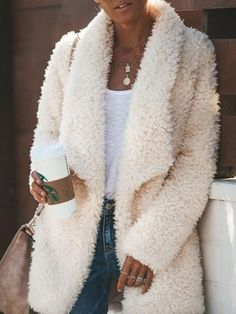 Fashion Casual Long Sleeved Half-Open Plush Cardigan – linenwe coat outfit casual coat and dress outfit chic coat womens coats casual Fashion Week, Teen Fashion, Winter Fashion, Fashion Outfits, Womens Fashion, Fashion 2016, Fashion Trends, Stylish Outfits, Fall Outfits
