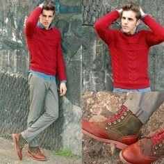 Zara Cable Jumper, Shasha Boots - Red on denim - Matthias Geerts