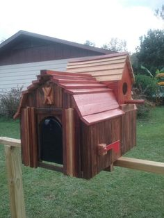 Custom made bird house mail box, barn style. Comes with new mailbox on a new pressure treated stained post, installed locally to pensacola fl. $225.00 Or can ship mail box with instuctions for installation, $200.00 + shipping