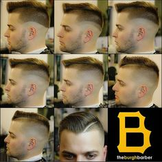 A step by step progression of a fade with a razor part! A well blended haircut dressed with Layrite Deluxe Pomade to finish this sleek look!