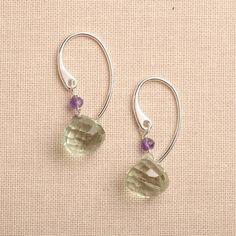 green amethyst earrings green gemstone earrings green and by izuly, $39.00
