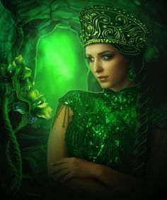 Lilia Osipova is a Russian digital artist living and working in Italy with her Italian husband and two children. Although Lilia finished medicine, she didn't be Go Green, Green Colors, Green Eyes, Mint Green, Fantasy Women, Fantasy Art, Ballet Russe, Green Goddess, Photoshop