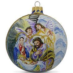 Angels Admiring Jesus Glass Ball Religious Christmas Nativity Ornament Holiday Gift Idea