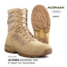 "ALTAMA EXOSpeed Men's Desert Tan  8"" Military Tactical Combat Boots Style: 3358 #ALTAMA #3358"