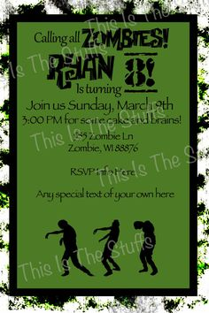 printable zombie invitations for a teen zombie party | birthdays, Birthday invitations
