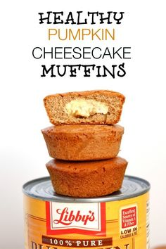 Healthy Pumpkin Cheesecake Muffins- These delicious, gluten free muffins are the perfect dessert or snack anytime- especially during the Festive season!