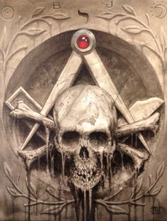 Masonic symbol...nothing sinister despite how it may appear to the un initiated ...These are mere symbols of our own mortality ...allows us to contemplate the eventual realisation and preparation for our own death ...