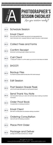 photographer's session checklist