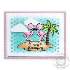 Sunny Studio Stamps: Fabulous Flamingos Card with background using Deco Foil Metallix Gel with Frilly Frames Polka-Dot Dies Sunshine Studio, Rainbow Words, Sunnies Studios, Studio Cards, Polka Dot Background, Handmade Birthday Cards, Handmade Cards, Scrapbooking, Flamingo Print