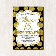 Birthday invitation, Black and Gold Birthday Invitation card, Teens Invitation, Girl Birthday, 15th Birthday, Gold Birthday, Teen Birthday Invitations, Gold Confetti, Invitation Cards, Rsvp, Age, Digital, Black