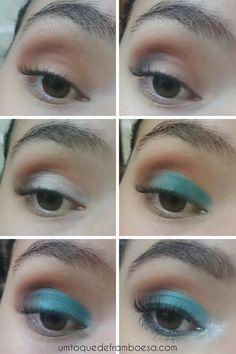 Tutorial passo-a-passo de maquiagem para noite usando sombra turquesa.