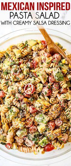 Pasta Salad Ingredients, Pasta Salad Recipes, Pasta Salad Dressings, Mexican Pasta, Mexican Dishes, Carlsbad Cravings, Mexican Food Recipes, Ethnic Recipes, Soup And Salad