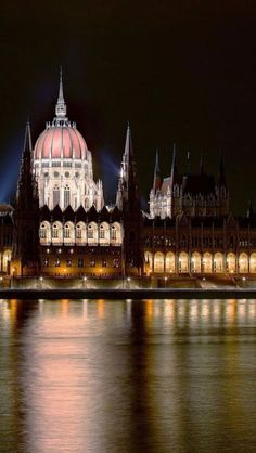 Hungarian Parliament Building, Budapest, Hungary..... saw this view on an evening dinner cruise on the river Danube.
