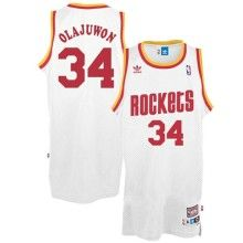 b3326227a NBA – Throwback Hakeem Olajuwon Jersey - Houston Rockets Vintage White Jersey  Houston Rockets