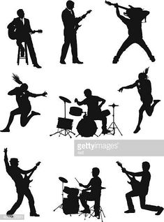 Silueta de músicos Dance Silhouette, Silhouette Clip Art, Jazz, Manga Poses, Graffiti Cartoons, Guitar Photography, Music Crafts, Music Painting, Stencil Designs