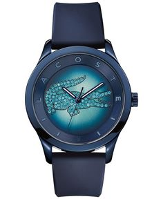 Lacoste offers a unique timepiece featuring the signature croc logo in beautiful blue pave crystals. From the Victoria collection. | Black leather strap | Round black ion-plated stainless steel case,