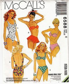 eb110c65c1 Swimsuit Skirted One 2 Piece Bathing Suits Stretch Knit McCalls Pattern  6588 S 6 2 Piece