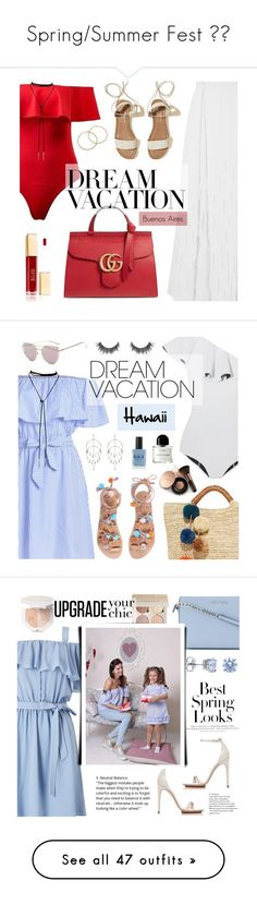 """""""Spring/Summer Fest ❤️"""" by tonipearson96 ❤ liked on Polyvore featuring Amanda Wakeley, Hollister Co., Gucci, Lisa Marie Fernandez, Kayu, Nude by Nature, Lauren B. Beauty, Byredo, H&M and BERRICLE"""