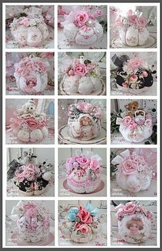 Teacup Pincushions as wedding centerpiece or shabby chic shower on silver look tray with doilie and pearls