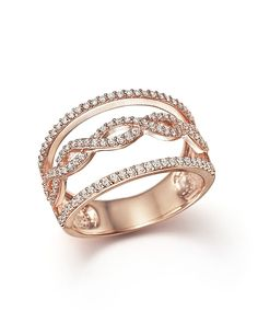 Diamond Multi-Row Ring in 14K Rose Gold, .50 ct. t.w. | Bloomingdale's