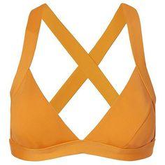 Onia Women's Alex Cross Back Bikini Top ($80) ❤ liked on Polyvore featuring swimwear, bikinis, bikini tops, tankini tops, orange triangle bikini, triangle bikinis, strappy bikini top and strappy bikini