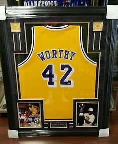 98d230f0675 James Worthy Los Angeles Lakers Signed Basketball Jersey Framed Display PSA  COA - http