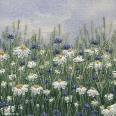 Jo Butcher- Daisies and cornflowers, hand embroidery