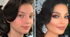 11 Photos Taken Before And After Brides Got Their Wedding Makeup | Bored Panda
