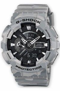 Mens G-Shock Camouflage Series Watch with silver strap, black dial and silver case. Supplied with official Casio guarantee and presentation box. Free delivery in Australia. Casio G Shock Watches, Big Watches, Luxury Watches, Cool Watches, Watches For Men, Casio G-shock, Casio Watch, Camouflage, Mens Sport Watches