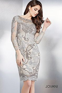 Silver Long Sleeves Fitted Short Dress 90336