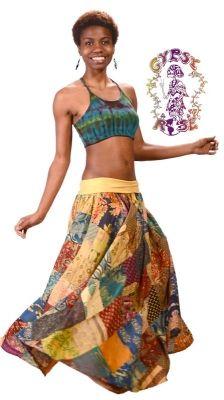 Festival Frolic Patchwork w/Super Comfy Waist Skirt