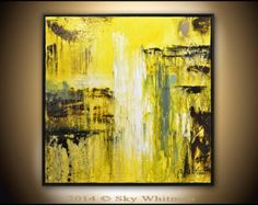 Original Abstract Modern Framed Square Yellow and Deep Sage Painting Abstract Art Textured Oil Painting High Gloss Abstract by Sky Whitman