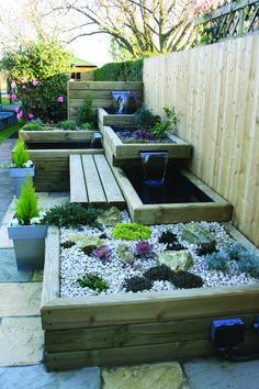 Small Backyard Landscaping, Modern Landscaping, Small Patio, Backyard Ideas, Patio Ideas, Backyard Patio, Backyard Waterfalls, Backyard Ponds, Landscaping Ideas