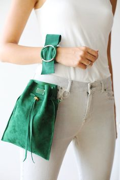 Crossbody Bag, Leather Bucket Bag, Green Leather Bag, Small Purse - Bag For Women And Babies Leather Fanny Pack, Leather Belt Bag, Green Leather, Leather Totes, Leather Purses, Hip Bag, Ladies Dress Design, Handmade Bags, Handmade Leather