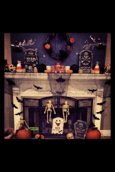 Halloween Fireplace Decor - almost everything came from the Dollar Tree!