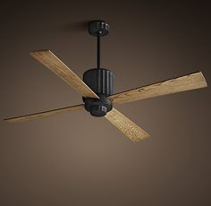 RH's Earhart Ceiling Fan:Cool metal and warm wood finishes lend a modern update to the industrial style of our whisper-quiet fan.
