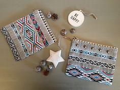 """Pochette de sac Collection """"Sioux"""" - pochette soirée - pochette maquillage - pochette rangement - purse - tissu inca aztec de la boutique BJByJen sur Etsy"""