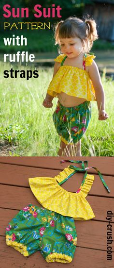 Sun Suit pattern with ruffle straps | DIY Crush