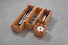 Stackable Bamboo Drawer Organisers from $6.95. Available at Howards Storage World